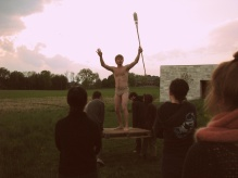 The king-like Ezra is carried on a platform.